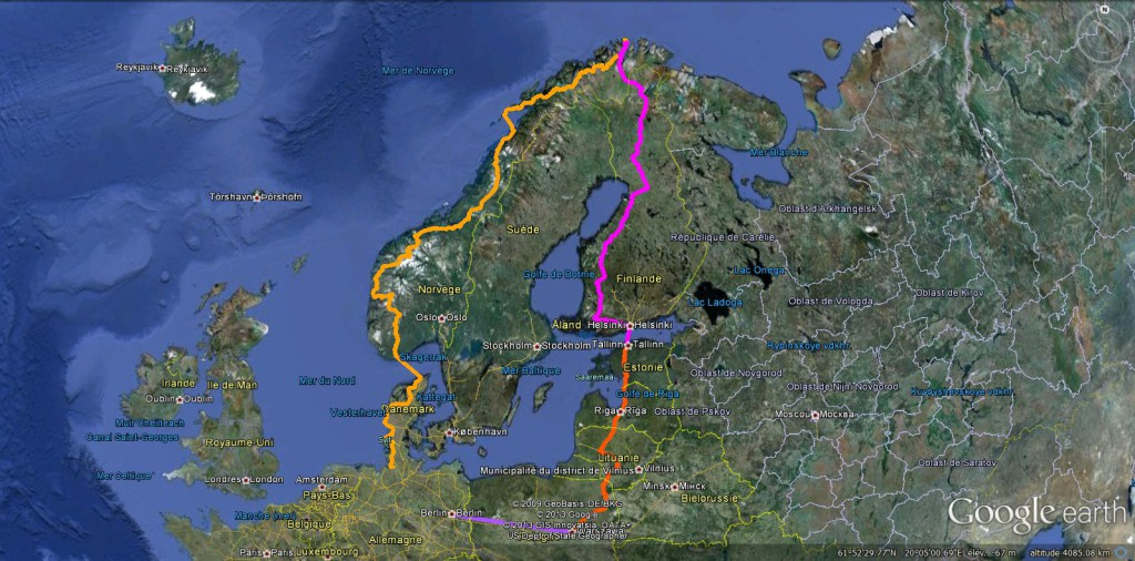 Carte google voyage scandinavie